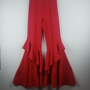 Bell bottoms red pants wide leg size medium